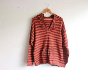 Red Brown Striped Hooded Soft Sweater