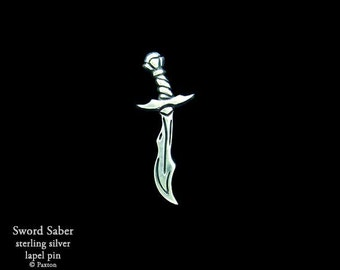 Sword Saber Lapel Pin Sterling Silver Fantasy Sword Pin