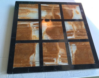 Checkerboard Marble Trivet Tray Natural Interiors