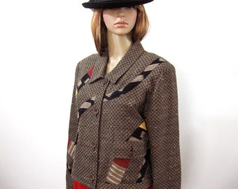 Vintage 1980s Cropped Jacket Unusual Free Form Patchwork Jacket Top / Size M to L