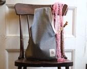Project Bag, Medium Knitting bag, Yarn Bag, Inside out Denim Knitting Bag