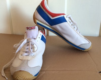 NOS deadstock 1970's Leather PONY Sneakers size 9.5 Red White Blue 1976 Official Olympics Canada