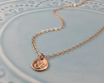 Rose Gold Necklace - Dainty Gold Jewelry - Layered Necklace - Personalized Charm Necklace - Tiny Initial Charm - Ampersand Pendant