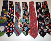 Lot of 7 Mens silk and cotton Sports Neckties