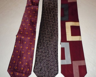 Lot of 3 Vintage Perry Ellis Silk Neckties