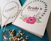 Rustic vow books. Wreath Wedding vow books. Wedding ceremony. Set of 2 books. VB528