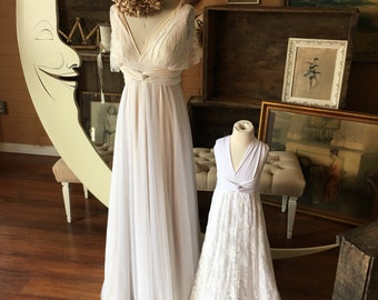 Lace and Whimsy~ Full Circle Skirt Tulle/ Chiffon Maxi Infinity Convertible Dress with Double Layer Straps- Bohemian Bridal, Wedding Dress