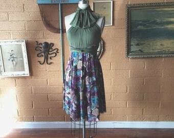 Plum Floral Mesh with Cyrpress Olive~ Octopus Infinity Wrap Dress~ Short circle skirt dress- Bridesmaids, Maternity, Plus Size, etc.