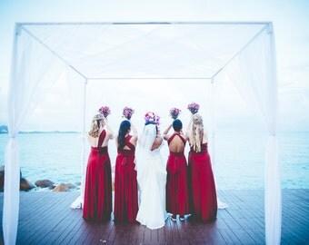 Bellport Crimson - Silky Satin Jersey~ No Train- Octopus Convertible Infinity Wrap Dress