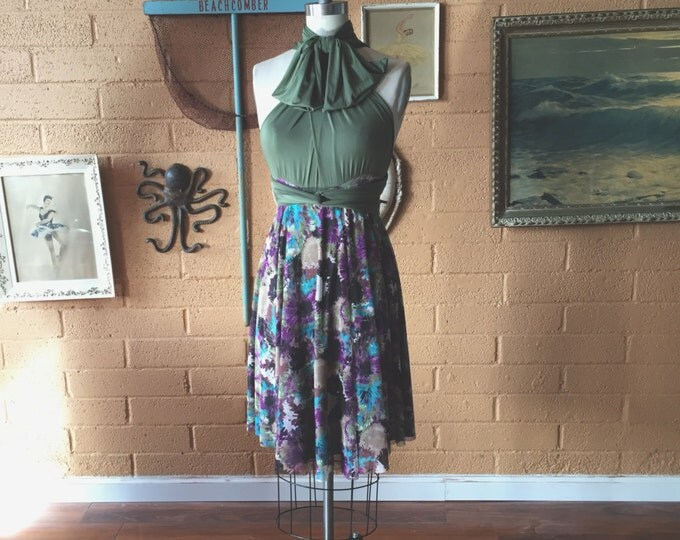 Plum Floral Mesh with Cyrpress Olive~ Octopus Infinity Wrap Dress~ Short circle skirt dress- Bridesmaids, Maternity, Plus Size, etc.