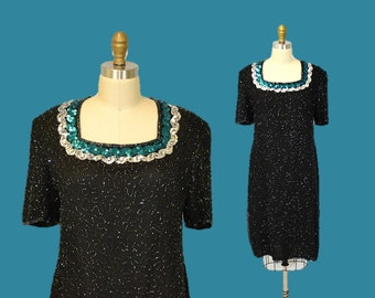 Sequin party dress 80s Cocktail evening teal black medium hipster funky homecoming cocktail  1980s IngridIceland