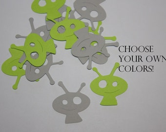 Cute Alien Die Cut Birthday Confetti - Choose your own colors!