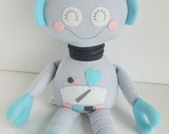 Robot - Kids Toy - Toys - Baby & Toddler - Doll - Stuffed Toy - Grey - Pink - Light Turquoise - Pearlescent - Ready Made - Girl - Plushie
