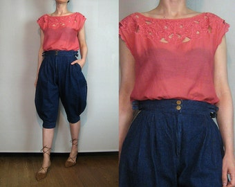 80s SILK EMBROIDERED CUTOUT Bali Cotton Cut Work Cutwork Leaf Scalloped Coral Orange Sleeveless Blouse Top Shirt Small Medium 1980s