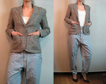 70s PATTY WOODARD CALIFORNIA vtg Sand Wool Plaid Classic Equestrian Riding Jacket w/ Pockets xs Small s/m 1970s