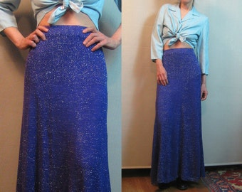 70s PURPLE SILVER KNIT Vintage Deep Purple Metallic Silver Knitted Maxi Sweater Skirt xs Small s/m Medium 1970s 80s 1980s