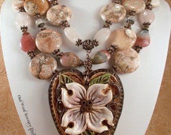 Cowgirl Necklace Set Western Statement - Chunky Rhodochrosite - Beige Howlite - Rose Quartz - Dogwood Heart