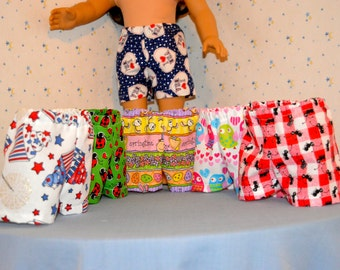 18 Inch Dolls Six Pair Cotton Boxer Shorts by SEWSWEETDAISY