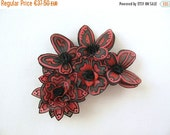 Reserved... Black and dark red silk flowers and butterflies brooch - hand painted silk brooch