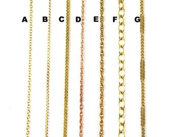 Vintage Brass Chain for Customized Necklace, Choker, Bracelet, Anklet Jewelry