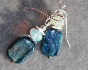 Kyanite and welo opal earrings by EvyDaywear, one of a kind only designer earrings