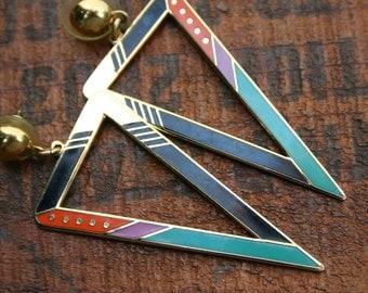 """Vintage Laurel Birch """"ZEMI"""" Gold & Enamel Earrings"""