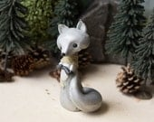 Silver Fox Figurine with a Golden Scarf by Bonjour Poupette