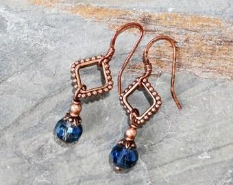 Blue Earrings, Copper Earrings, Geometric Earrings, Diamond Shaped Earrings, Bohemian Earrings, Boho Earrings, Bohemian Jewelry, Handmade