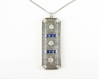 Diamond & Sapphire Art Deco Pendant. Geometric Filigree Rectangle Pendant. Old Cut Diamonds, Blue Carre Cut Sapphires, 18ct Platinum.