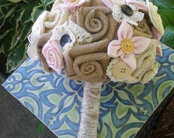 Burlap and lace rustic bridal bouquet