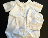 Baby Boy Baptism Romper and Bonnet/Christening Outfit/Blessing Outfit/Baby Dedication/Wedding Outfit