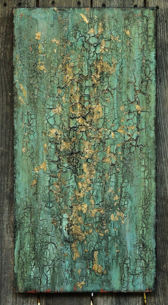 Abstract Texture Painting Turquoise Blue Green Gold Leaf