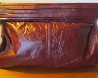 Vintage 80's Slouchy Leather Candi Bag Oxblood leather Glam