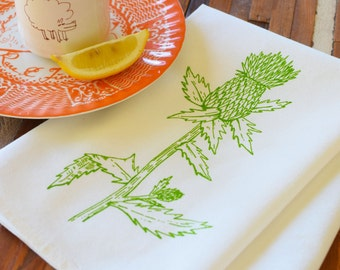 Cloth Napkins - Screen Printed Cotton Cloth Napkins - Eco Friendly Dinner Napkins - Thistle - Handmade Cotton Napkins - Reusable - Scotland