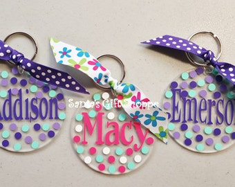 Personalized  Key Chain - Luggage Tags - School Backpack - Pet Carrier- Monogrammed Name or Initial - Summer Vacation-Acrylic-Back to School