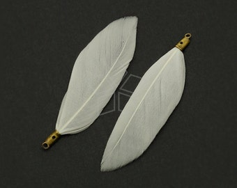 FT-002-WT / 2 pcs - Duck Feather Pendant, Handmade White Feather Charm, Natural Bohemian Plume Pendant / 50mm