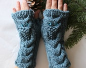 Owl Denim Blue  Hand Knitted Arm Warmers Fingerless Gloves, Woman Mittens, Eco Friendly,Christmas Gift