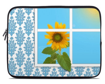 Sunflower laptop cover, floral laptop case, blue laptop sleeve, quirky art, to fit 10, 13, 15, 17 inch
