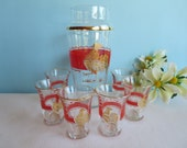 Vintage Rooster Glasses and Carafe with Gold Trim - Set of 6 Glasses