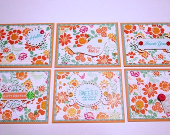 Note Cards - Set of 6 citrus flower notecards with assorted sentiment tags and buttons