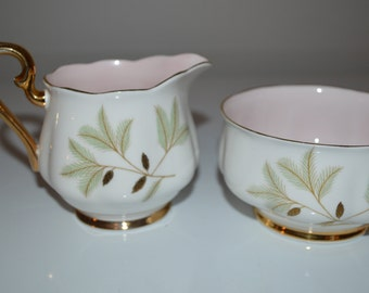 Royal Albert cream and sugar set - Braemar pattern - English bone china - pink