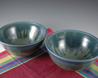 Set of 2 - Slate Blue / Olive Green Stoneware Soup / Serving bowl by Douglas Bechler