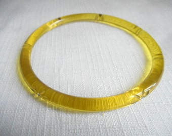 Vintage Yellow Lucite Flower Cuff Bangle Bracelet