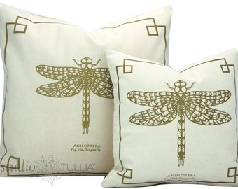 Silkscreen Pillow Covers - 14X14 and 20X20 - Natural and Gold - The Bug Chicks Collection - Large Dragonfly pillow cover- ready to ship