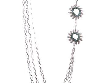 Triple Strand Sunburst Trio Necklace