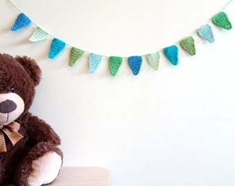 Bunting garland - boys birthday party ideas - kids birthday party decorations - baby shower decor - crochet bunting decor - blue ~35.5 in