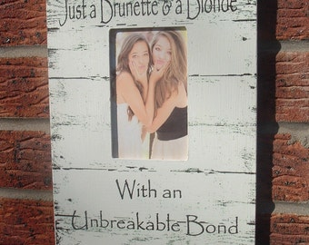 Best Friends picture frame brunette blonde photo frame personalized  11x8 inch