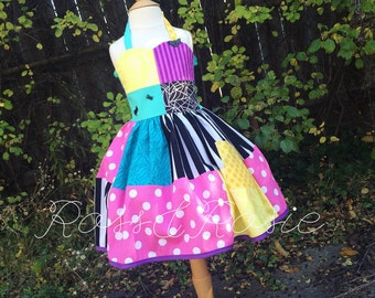 Sally Inspired Nightmare Before Christmas Dress Up Costume Sweetheart Halter Dress...Made to Order
