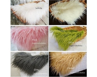 "Newborn Faux Fur, Long Pile Faux Fur Fabric, Newborn Photo Prop 20x 20"" Fur Layering Mini Blanket, Newborn Backdrop, Baby Prop, Prop Fur"