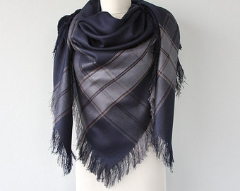 Wool Blanket Scarf Winter wrap Fringe shawl Plaid shawl Winter accessories Autumn fall fashion Navy blue scarf Holiday Christmas gift